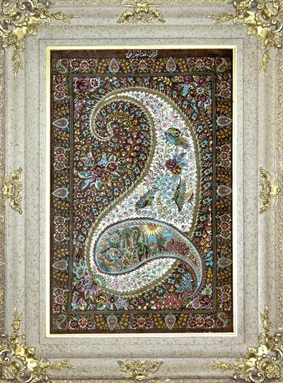 Paisley with Birds & Scenary Silk Persian Tableau Rug (Pictorial Carpet)