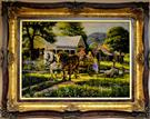 Horses & Children Silk Persian Tableau Rug (Pictorial Carpet)