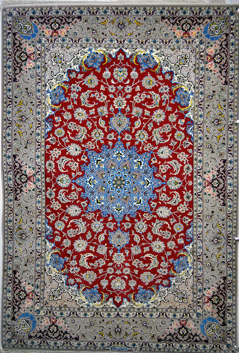 Pomegranate Red And Blue Slimi Silk Persian Rug Item 776