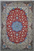 Pomegranate Red and Blue Slimi Silk Persian Rug