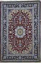 Dark Red & Blue Silk Persian Rug
