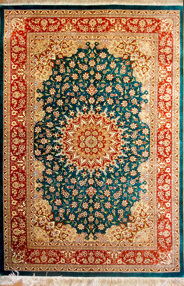 Qum Silk Persian Rug Item 2044