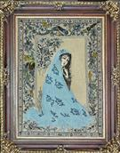 Lady in Blue Silk Persian Tableau Rug (Pictorial Carpet)