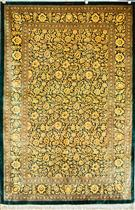 Qum Royal Green  Silk Persian Rug