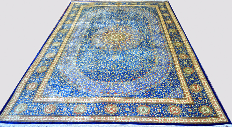 Qum Masoumi Royal Blue Silk Persian Rug