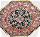 Heptagon Green Wool Persian Rug