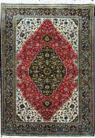 Qum Green & Red Silk Persian Rug