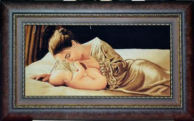 Mother & Child Wool Tableau Rug (Pictorial Carpet)