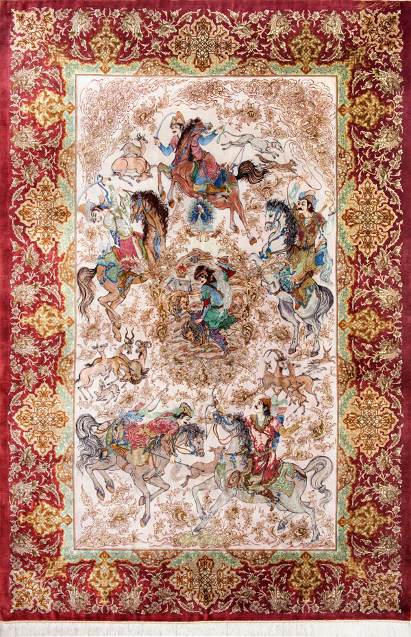 Qum Hunting Scene Silk Persian Rug Item Cs Q 105