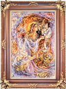Firebird  Silk Persian Tableau Rug (Pictorial Carpet)