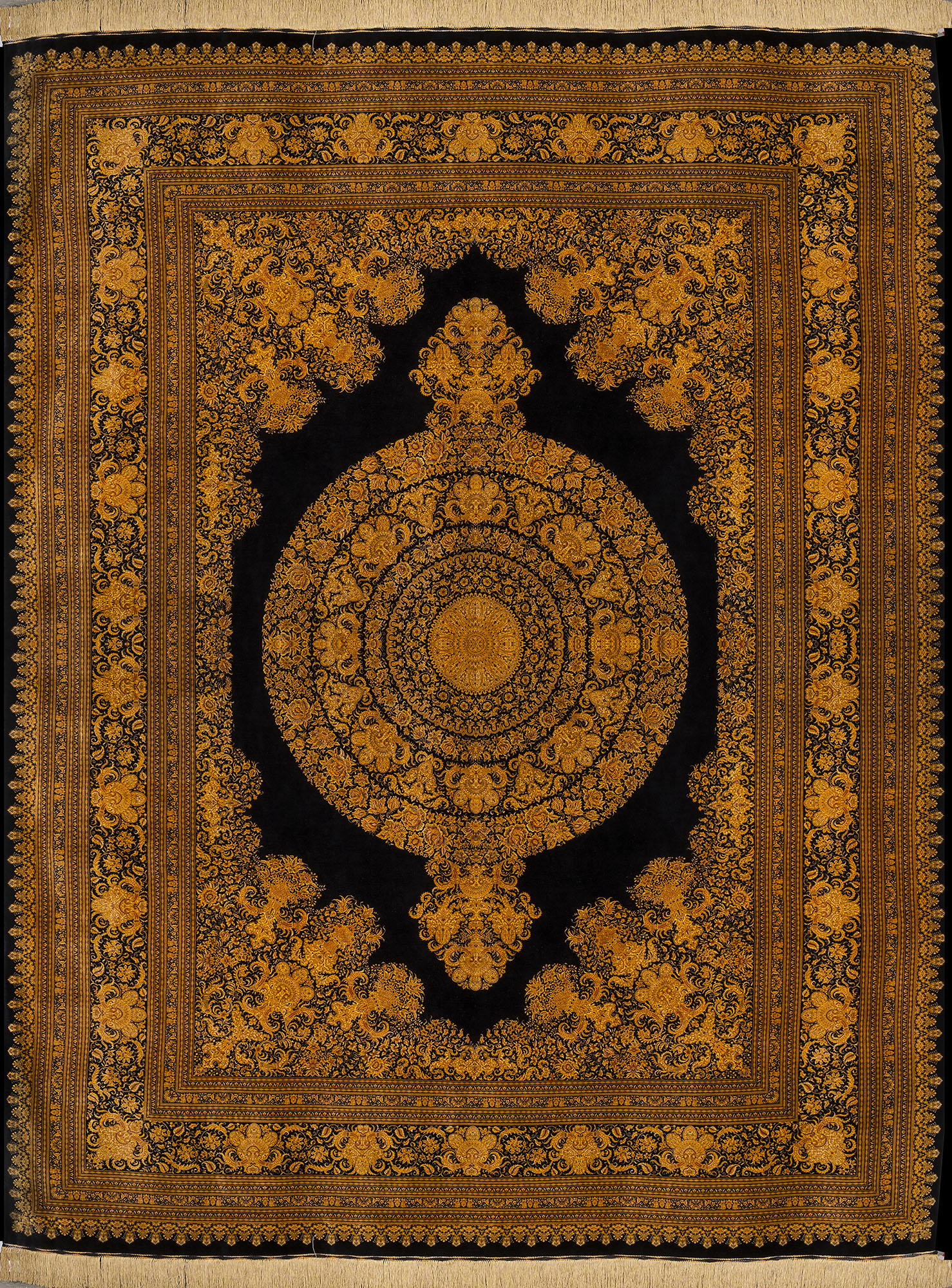 Qum Versace Gold Amp Black Silk Persian Rug Item Sb 101
