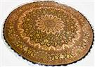 Qum Versace Gold & Black Round Silk Persian Rug