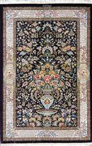 Qum Flower Vase  Silk Persian Rug