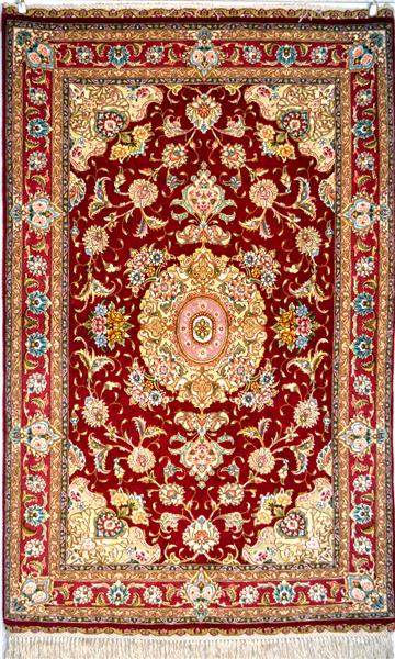Salari Royal Red Pair Zaro Nim 65 Raj Silk Persian Rug