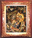 Niaz with Deer Silk Persian Tableau Rug (Pictorial Carpet)