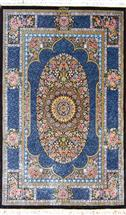 Qum Naiemi Blue Silk Persian Rug