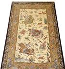 Shirazi Hunting Scene Silk Persian Rug